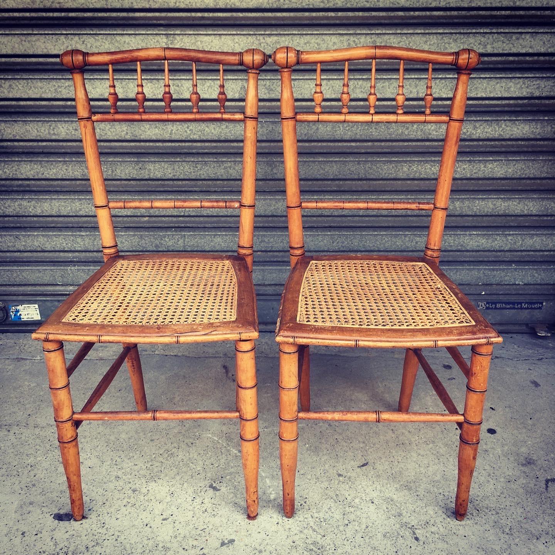 paire de chaises bambou